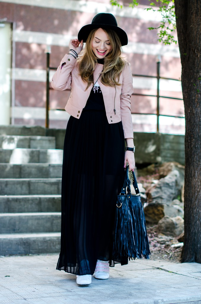 powder-pink-leather-jacket-long-black-skirt-black-hat-adidas-sneakers-fringe-bag-outfit-fashion-pink-wish (10)