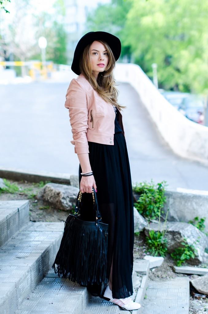 powder-pink-leather-jacket-long-black-skirt-black-hat-adidas-sneakers-fringe-bag-outfit-fashion-pink-wish (13)