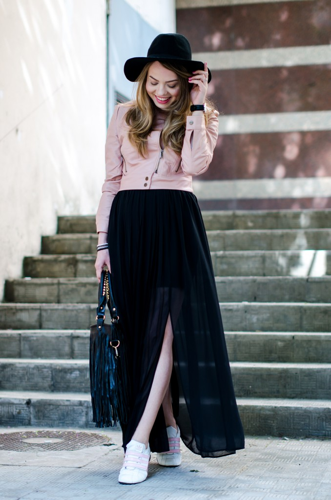 powder-pink-leather-jacket-long-black-skirt-black-hat-adidas-sneakers-fringe-bag-outfit-fashion-pink-wish (7)