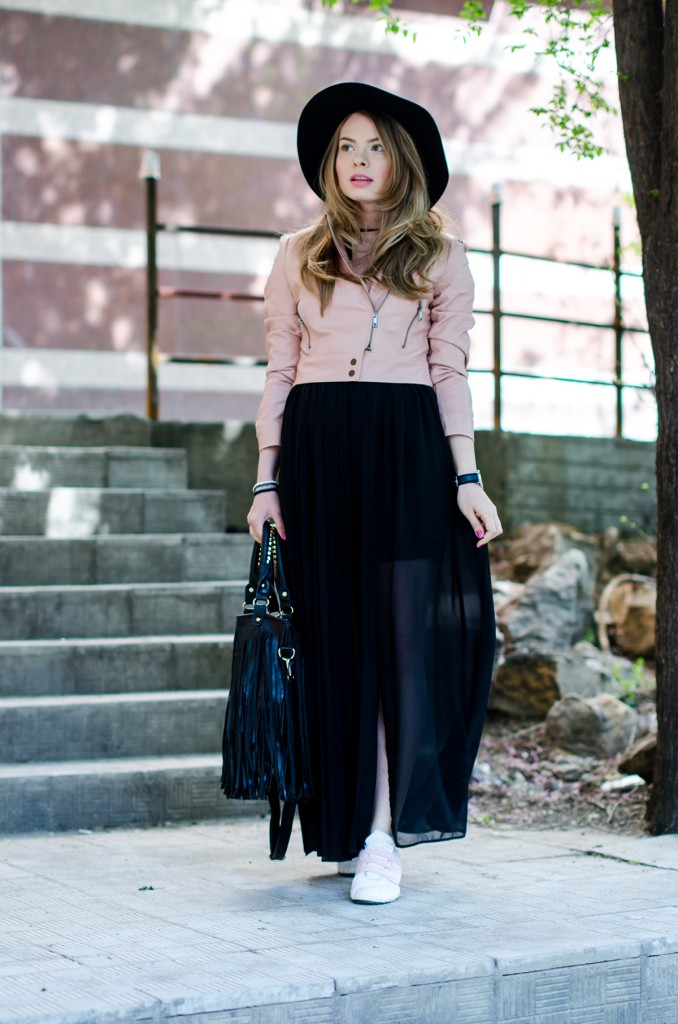 powder-pink-leather-jacket-long-black-skirt-black-hat-adidas-sneakers-fringe-bag-outfit-fashion-pink-wish (8)