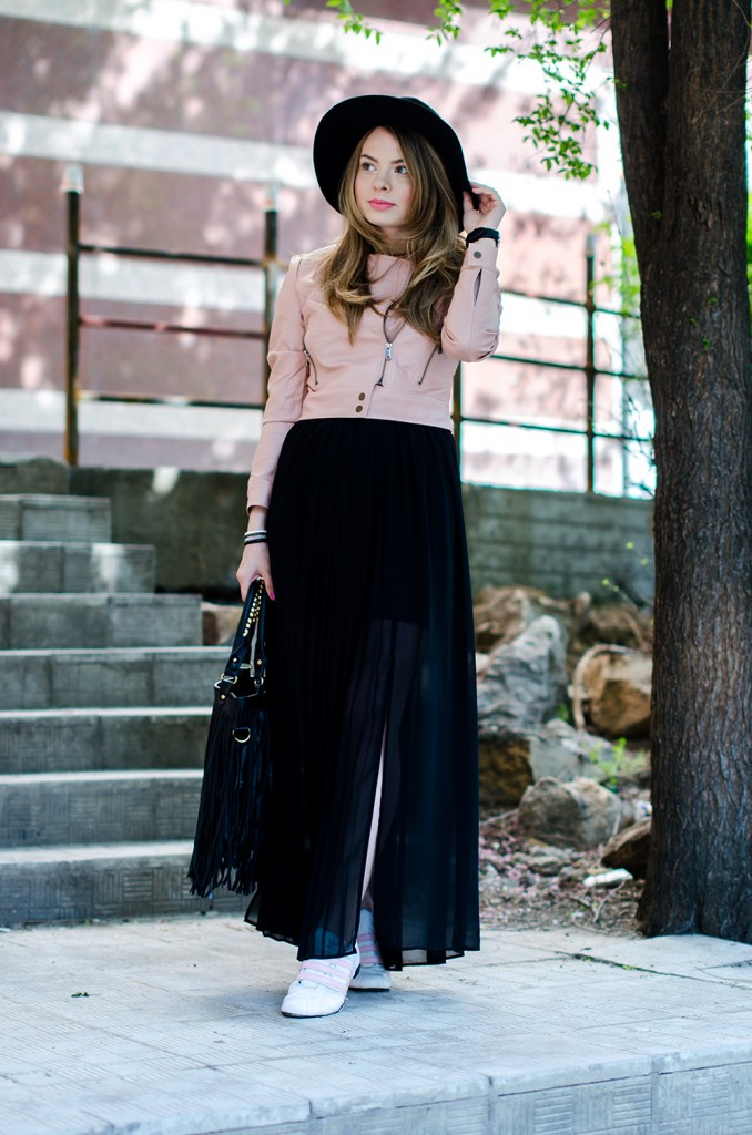powder-pink-leather-jacket-long-black-skirt-black-hat-adidas-sneakers-fringe-bag-outfit-fashion-pink-wish (9)