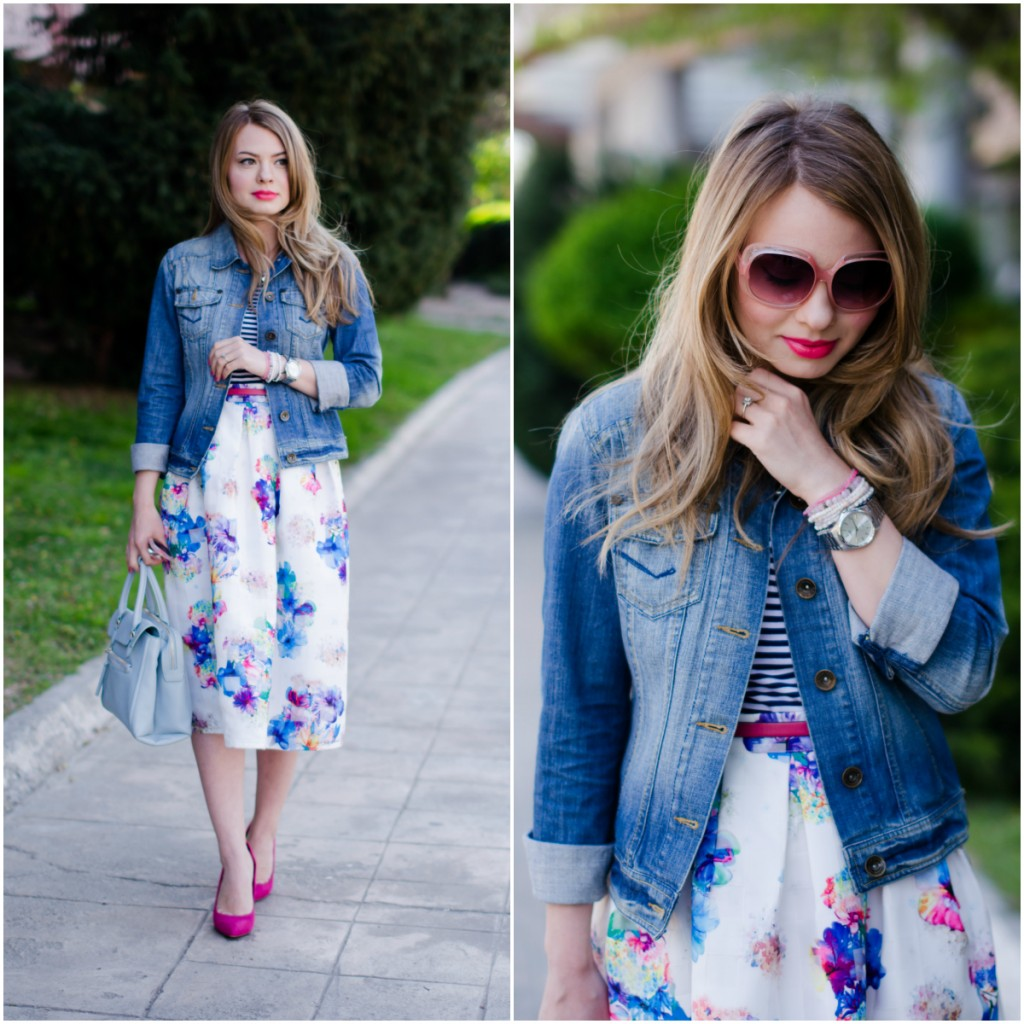 sheinside-floral-midi-skirt-striped-tee-denim-jacket-outfit-pink-shoes-zara-baby-blue-bag (4)