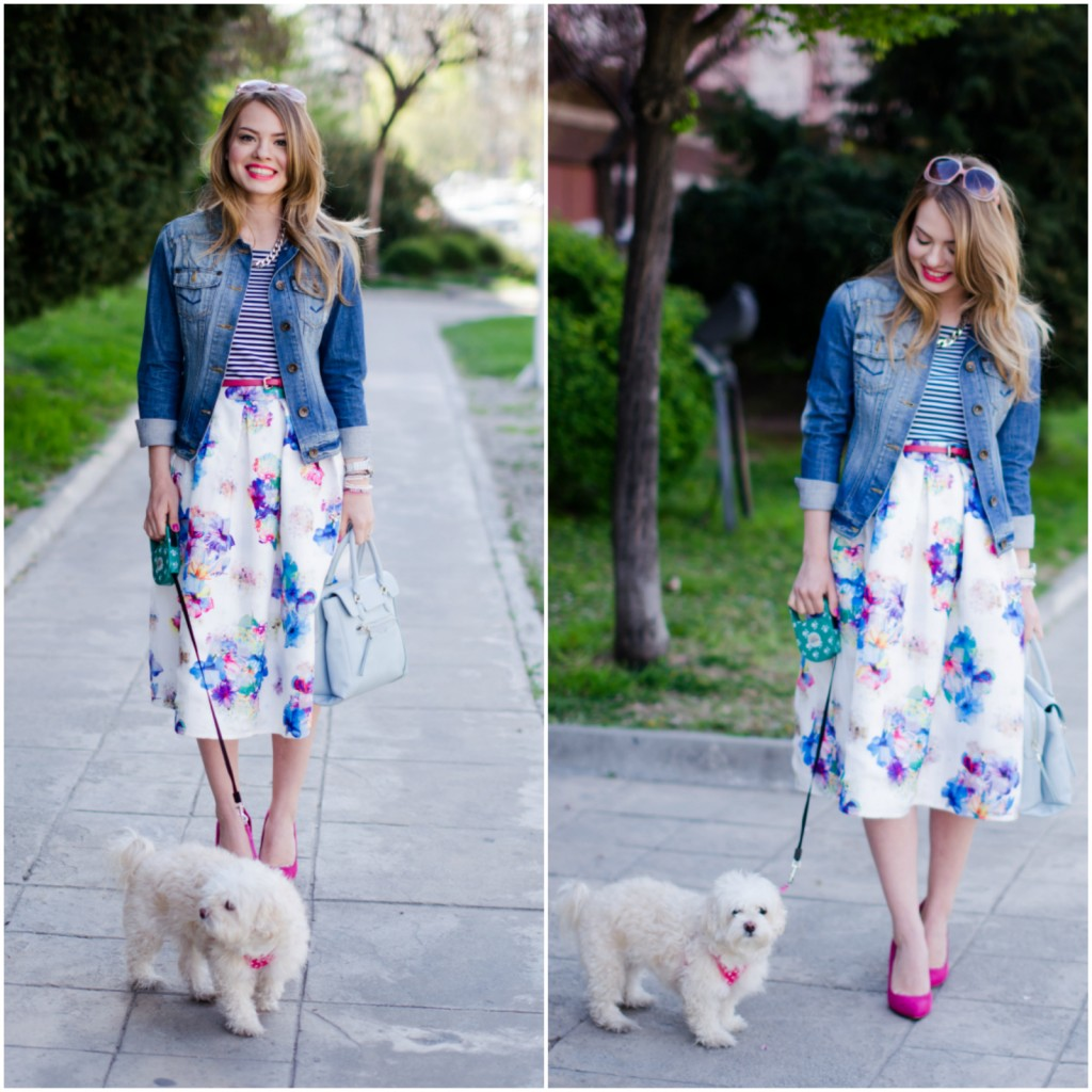 sheinside-floral-midi-skirt-striped-tee-denim-jacket-outfit-pink-shoes-zara-baby-blue-bag (5)