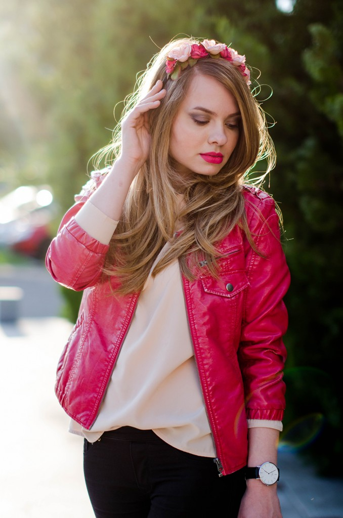 black-skinny-zara-pants-coral-leather-jacket-flower-crown-outfit-fashion-pink-wish (10)