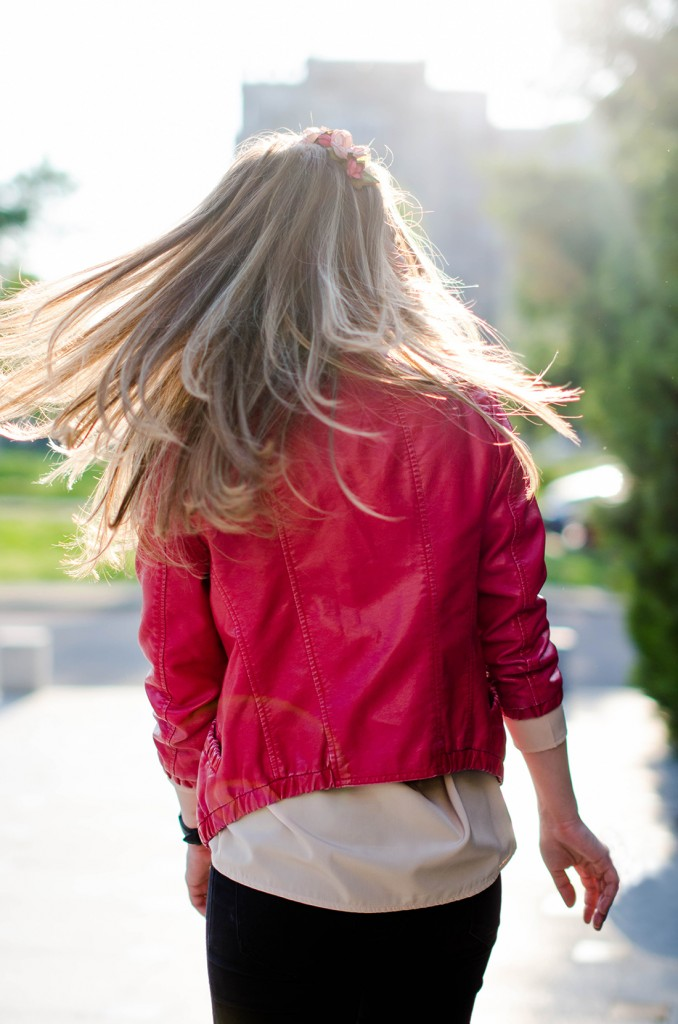 black-skinny-zara-pants-coral-leather-jacket-flower-crown-outfit-fashion-pink-wish (12)