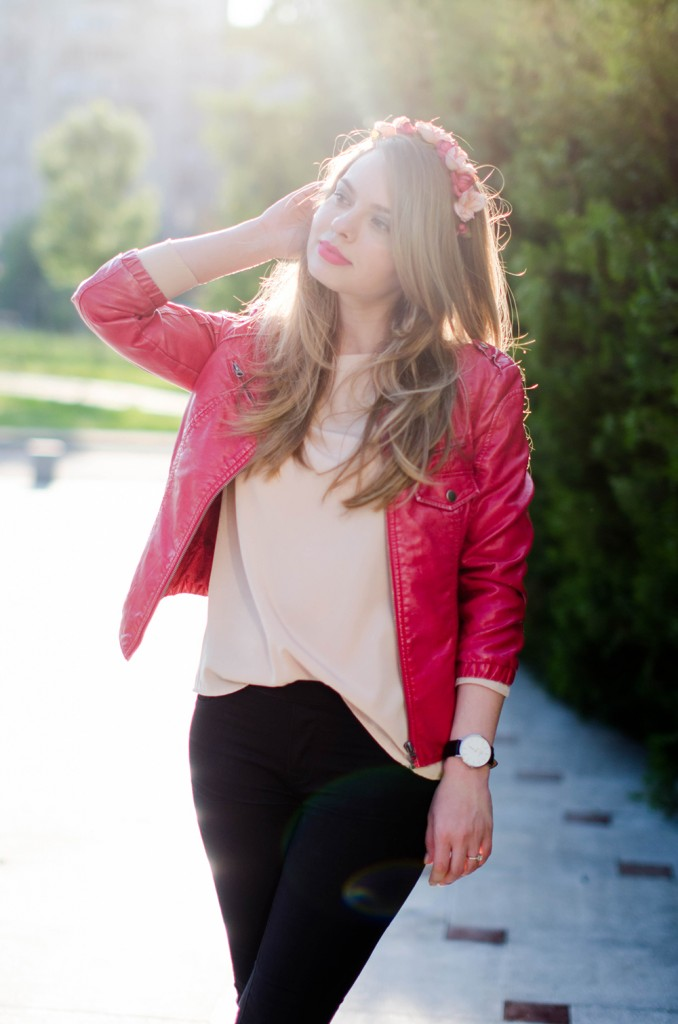 black-skinny-zara-pants-coral-leather-jacket-flower-crown-outfit-fashion-pink-wish (4)