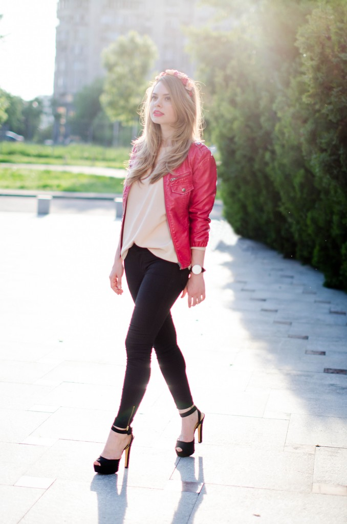 black-skinny-zara-pants-coral-leather-jacket-flower-crown-outfit-fashion-pink-wish (5)