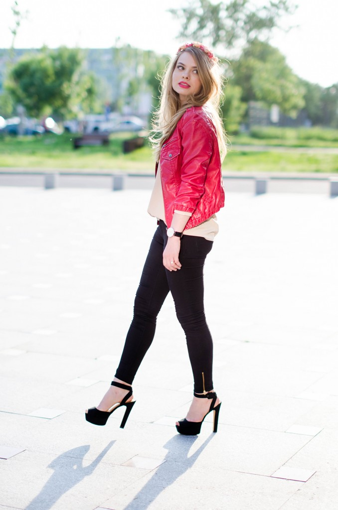 black-skinny-zara-pants-coral-leather-jacket-flower-crown-outfit-fashion-pink-wish (7)