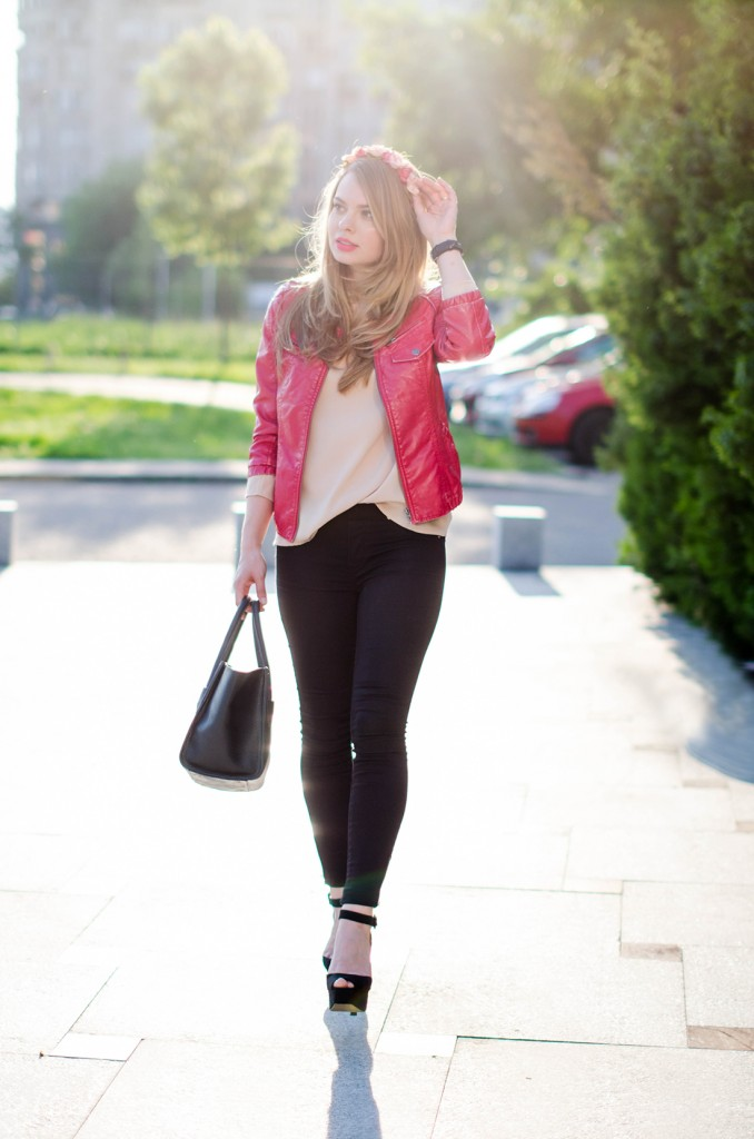 black-skinny-zara-pants-coral-leather-jacket-flower-crown-outfit-fashion-pink-wish (8)