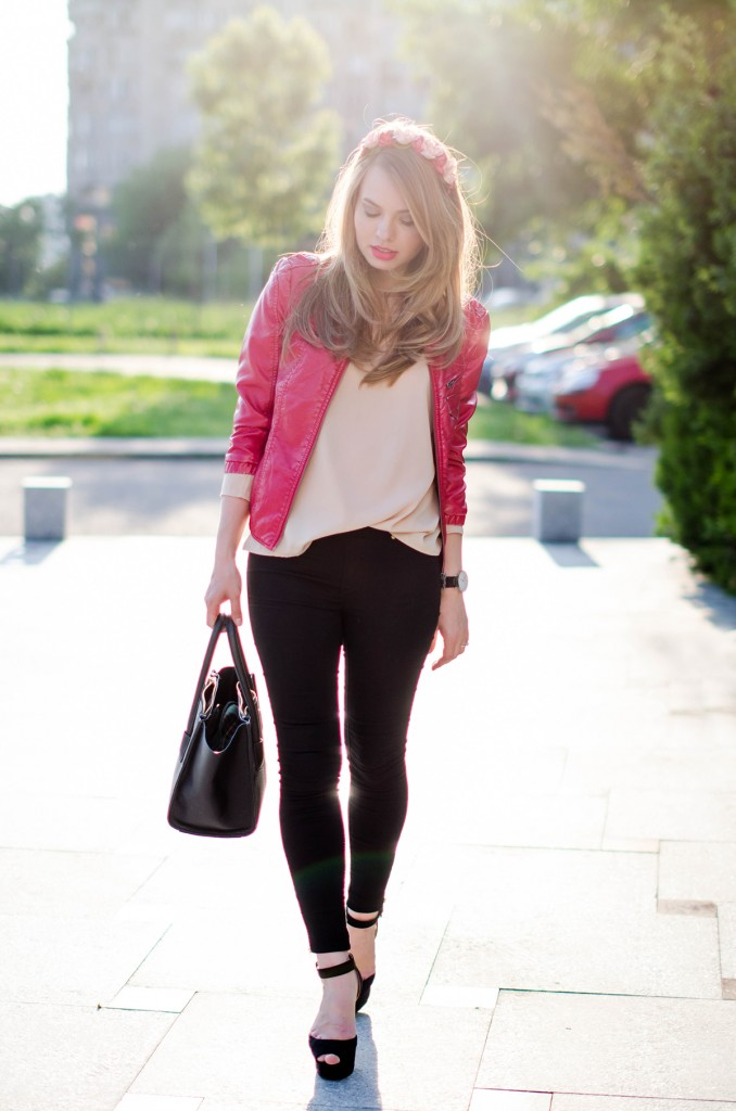black-skinny-zara-pants-coral-leather-jacket-flower-crown-outfit-fashion-pink-wish (9)