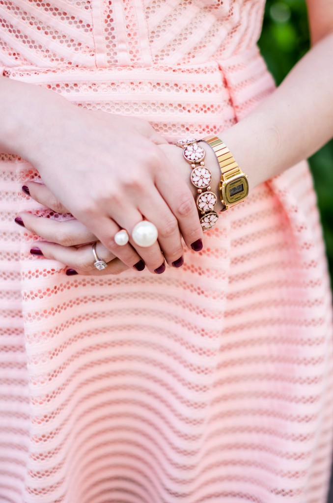 pink-dress-casio-watch-retro-double-pearl-ring-vintage-pink-bracelet