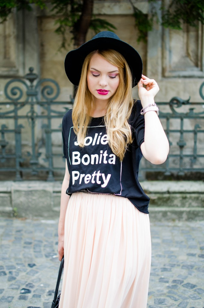 pink-long-dress-black-tshirt-bonita-jolie-pretty-black-hm-hat-13