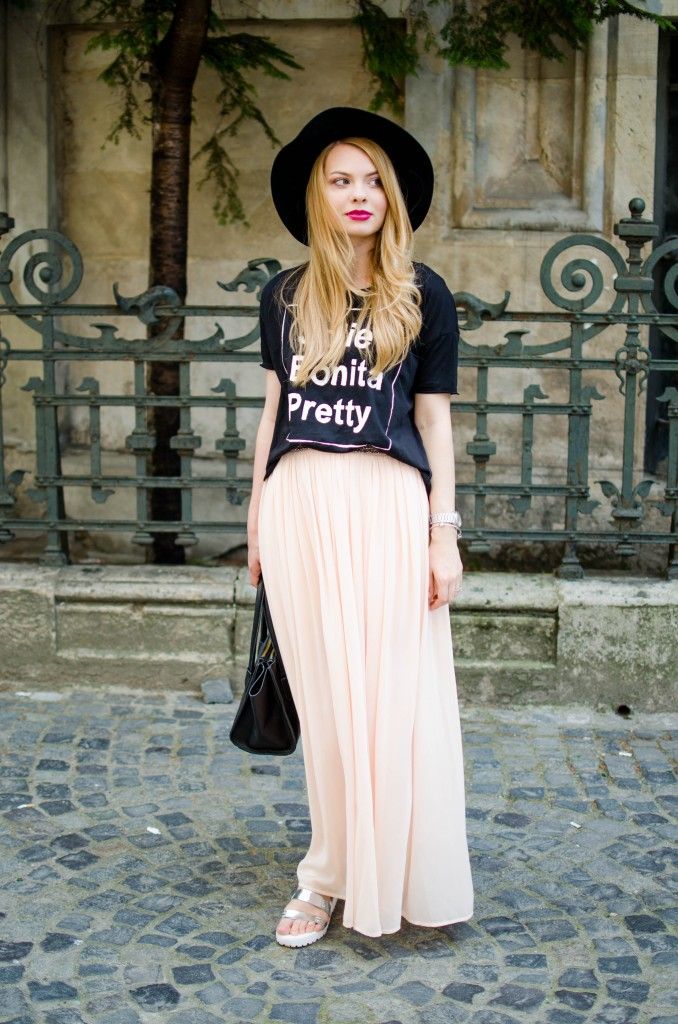 pink-long-dress-black-tshirt-bonita-jolie-pretty-black-hm-hat-8