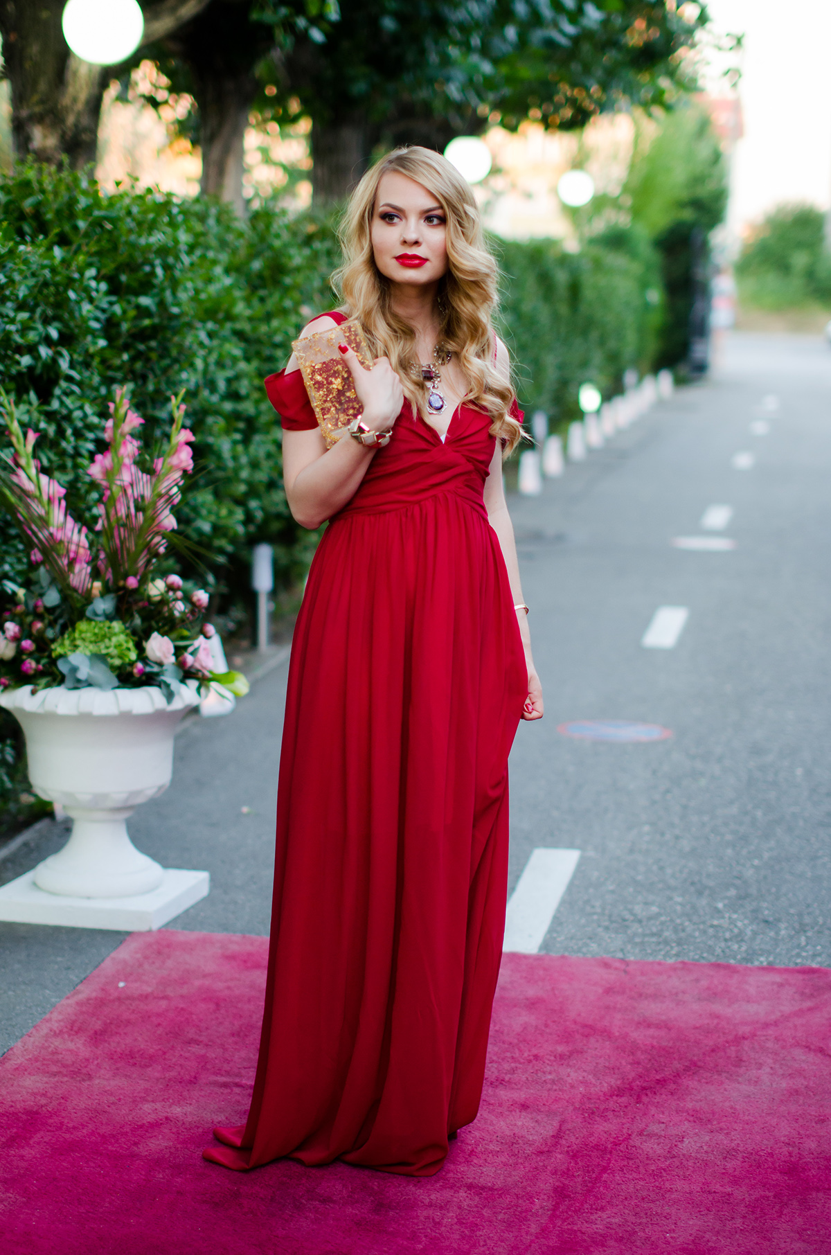 Wedding outfit the red maxi dress pink wishpink wish shein red maxi dress zara statement necklace wedding ombrellifo Images