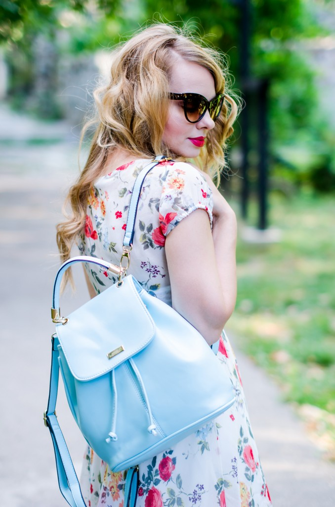 zara-floral-dress-zaful-baby-blue-backpack-zerouv-cateye-sunglasses-red-flats (16)