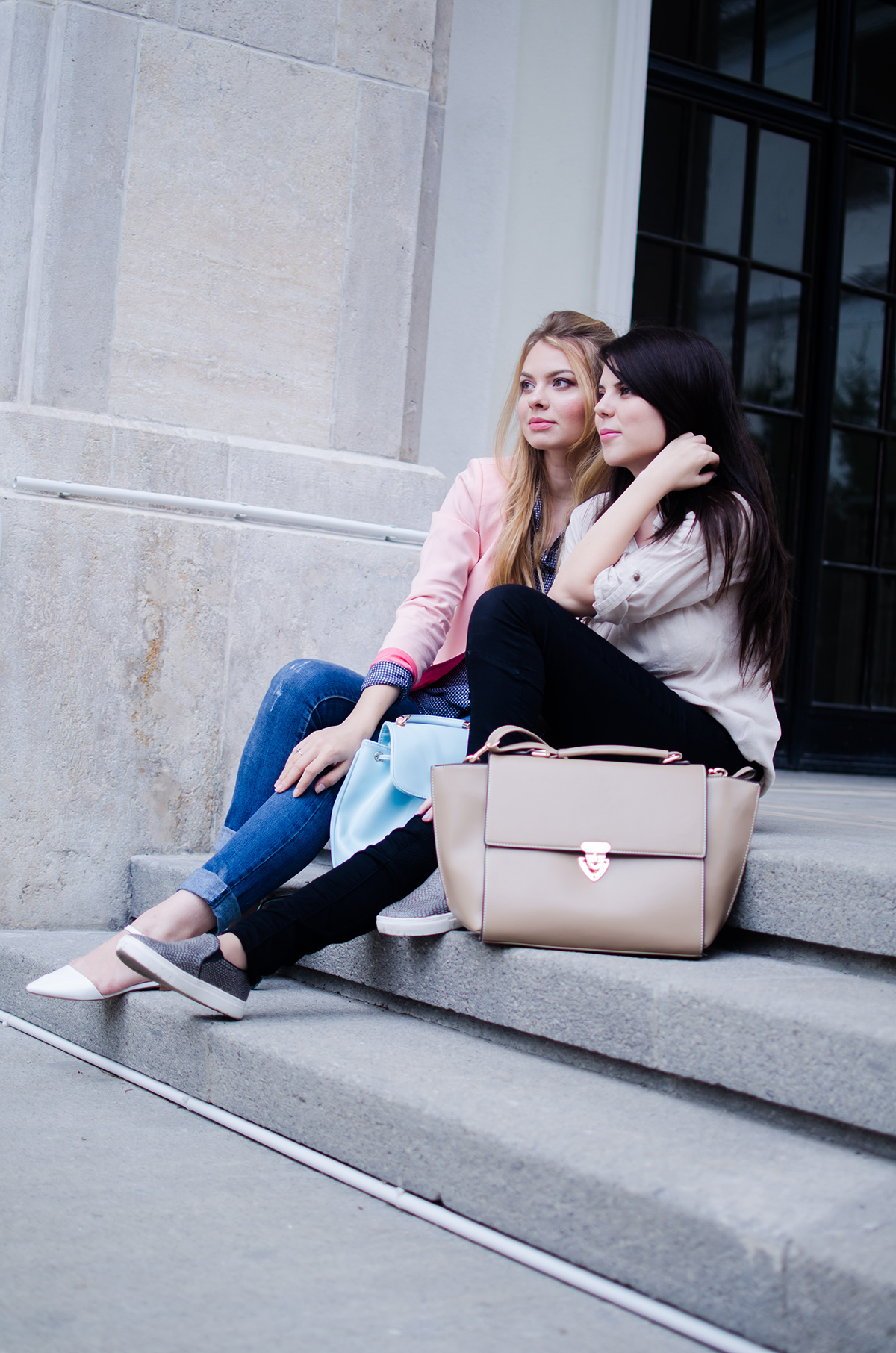 pink-blazer-skinny-jeans-white-pointed-flats-blue-backback-back-to-college (1)