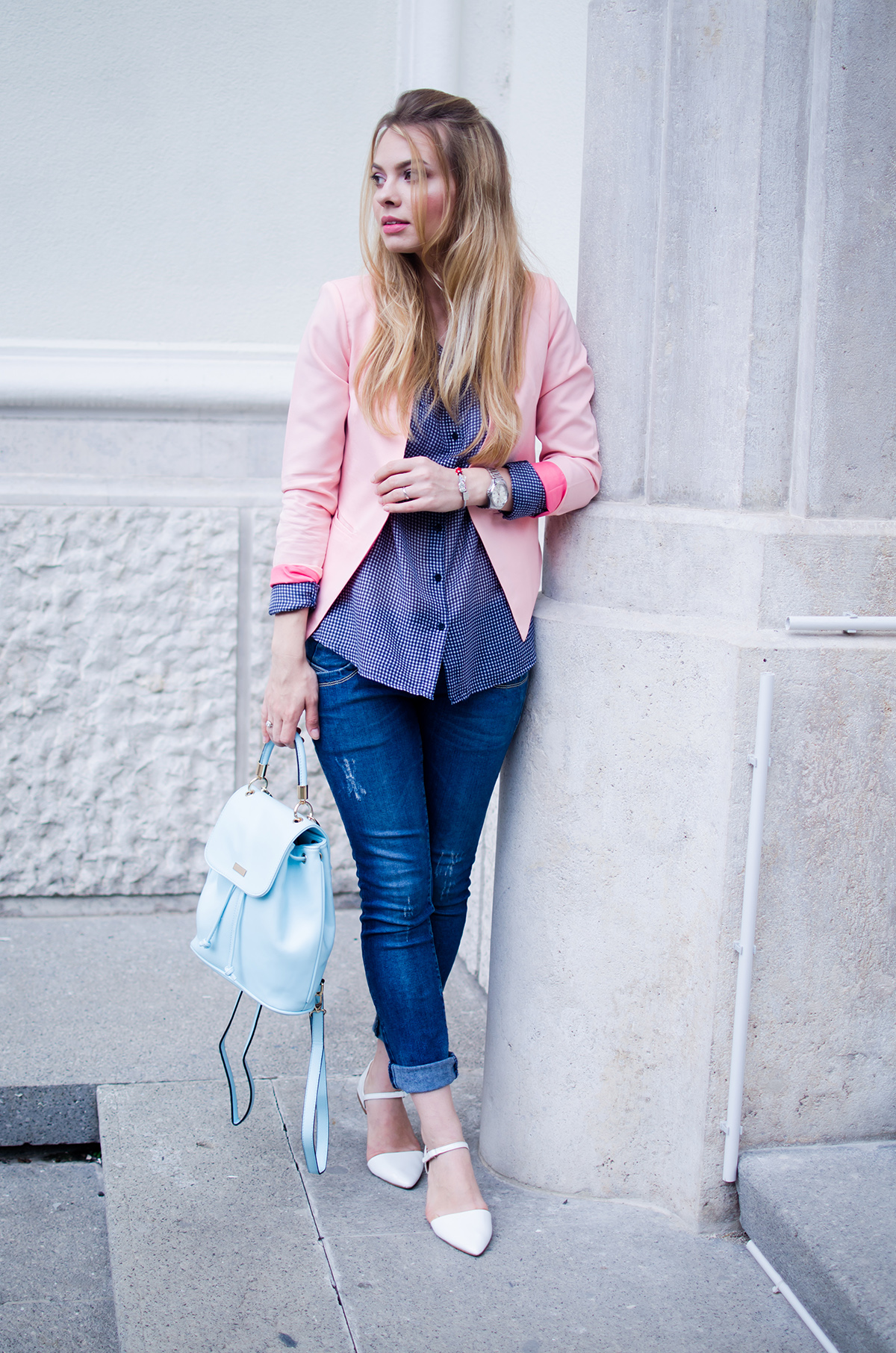 pink-blazer-skinny-jeans-white-pointed-flats-blue-backback-back-to-college (10)