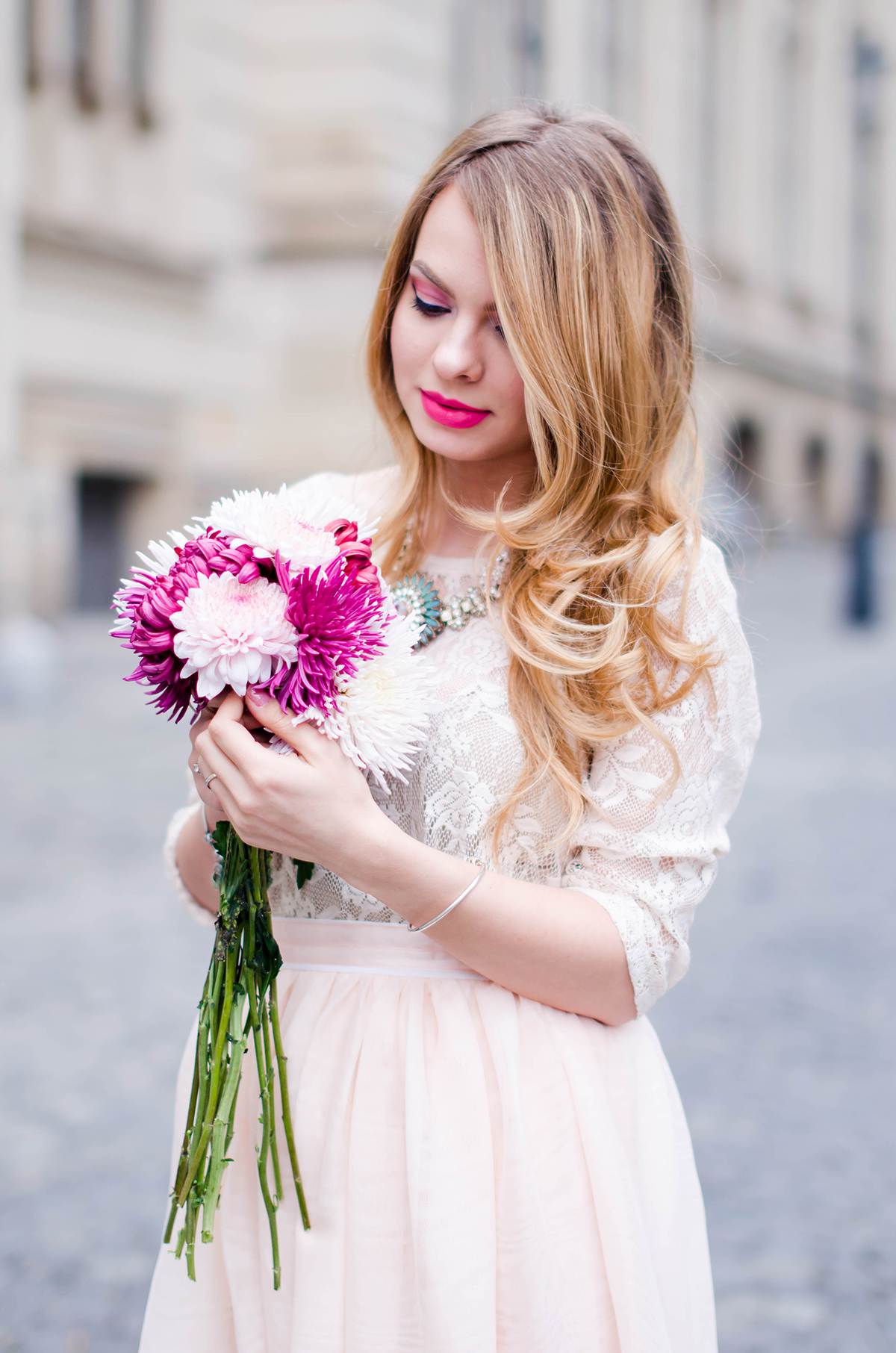 pastel-pink-tulle-skirt-lace-blouse-pink-flowers-feminine-outfit-embellished-pink-heels (6)