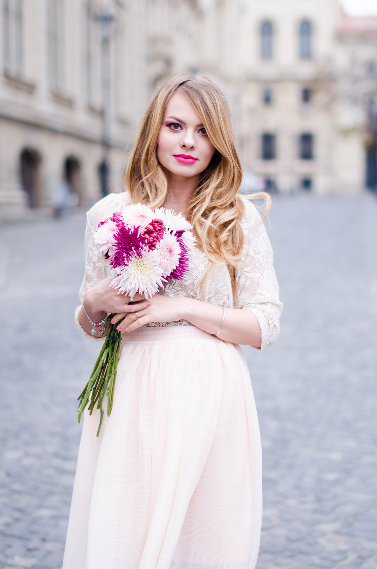 pastel-pink-tulle-skirt-lace-blouse-pink-flowers-feminine-outfit-embellished-pink-heels (7)