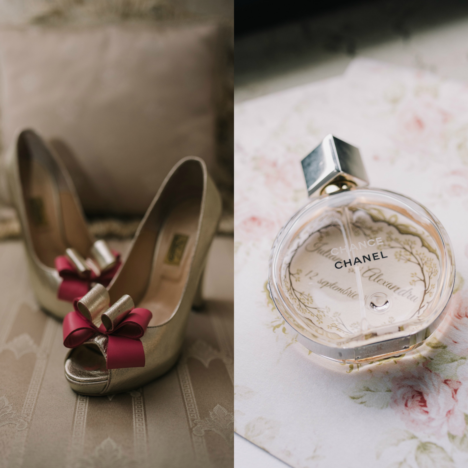wedding-details-chanel-perfume-pink-bow-wedding-shoes