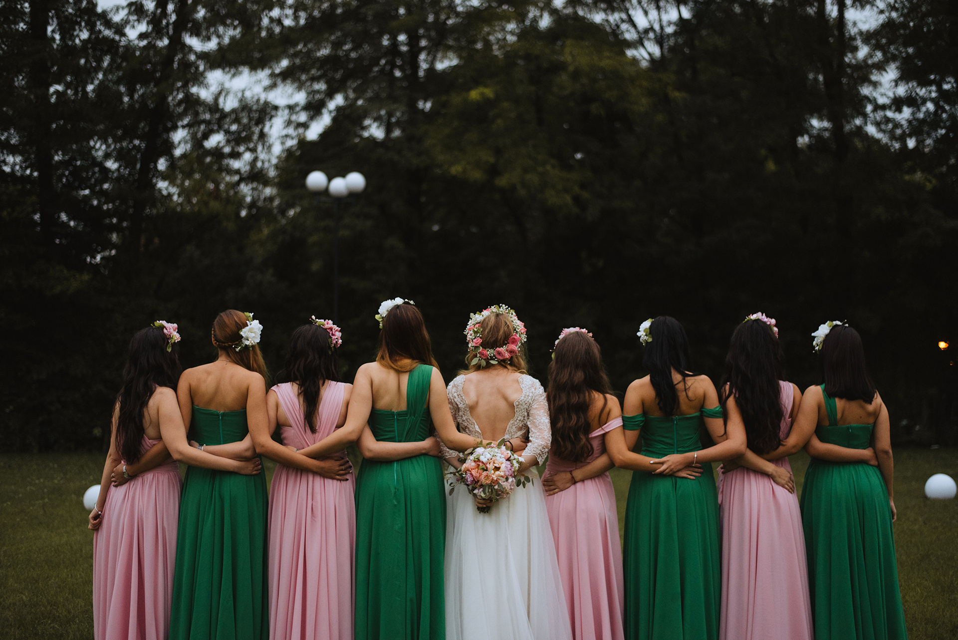 wedding-pink-and-green-bridesmaids-dresses-tulle-and-lace-wedding-dress (12)