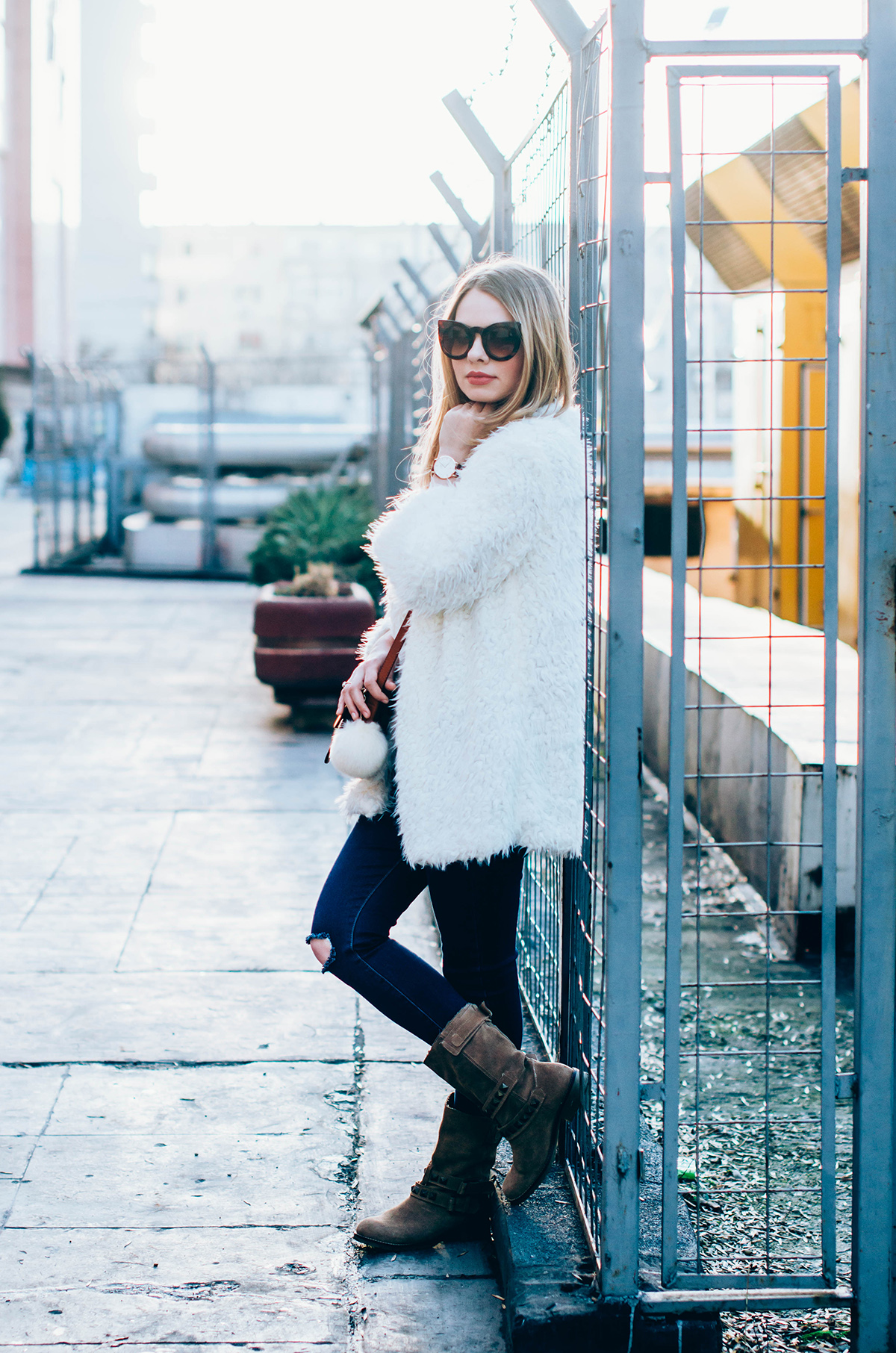 white-fluffy-cardgan-ripped-skinny-jeans-suede-boots-camel-scarf-fluffy-keyrng-cat-eye-sunglasses (10)