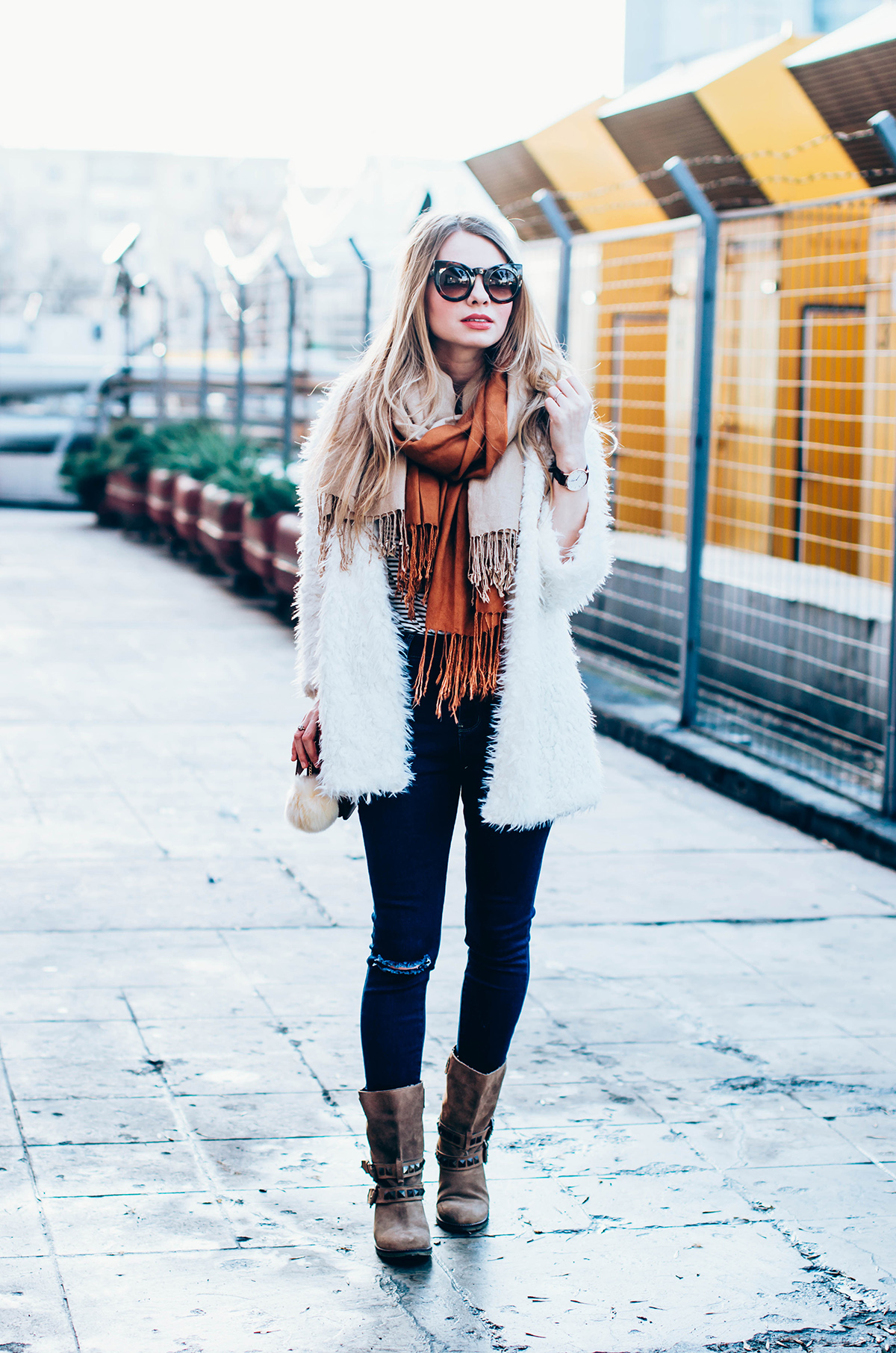 white-fluffy-cardgan-ripped-skinny-jeans-suede-boots-camel-scarf-fluffy-keyrng-cat-eye-sunglasses (2)