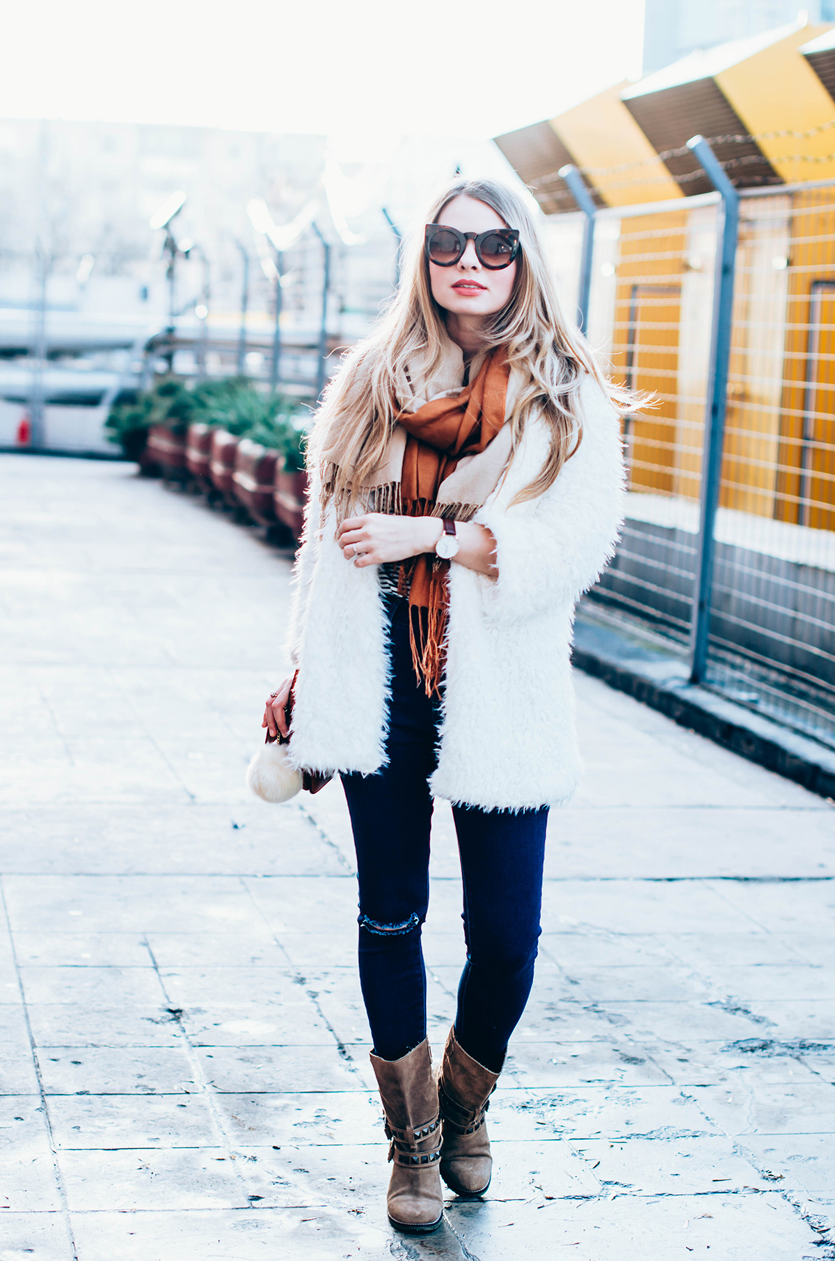 white-fluffy-cardgan-ripped-skinny-jeans-suede-boots-camel-scarf-fluffy-keyrng-cat-eye-sunglasses (3)