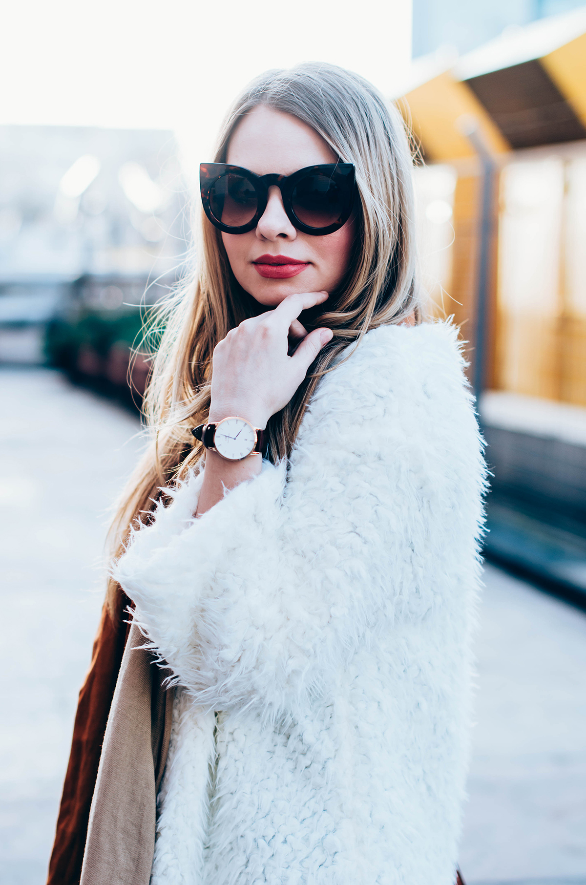 white-fluffy-cardgan-ripped-skinny-jeans-suede-boots-camel-scarf-fluffy-keyrng-cat-eye-sunglasses (4)