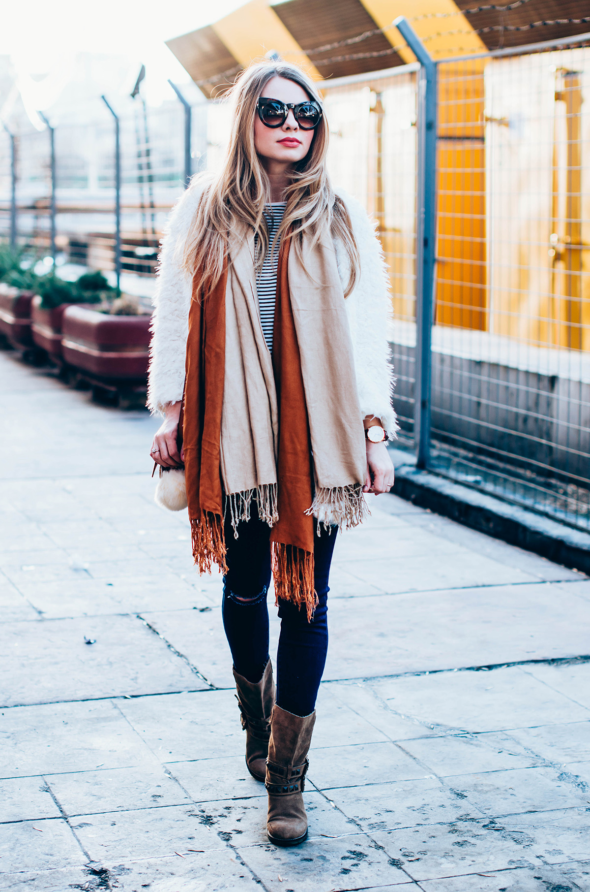 white-fluffy-cardgan-ripped-skinny-jeans-suede-boots-camel-scarf-fluffy-keyrng-cat-eye-sunglasses (5)