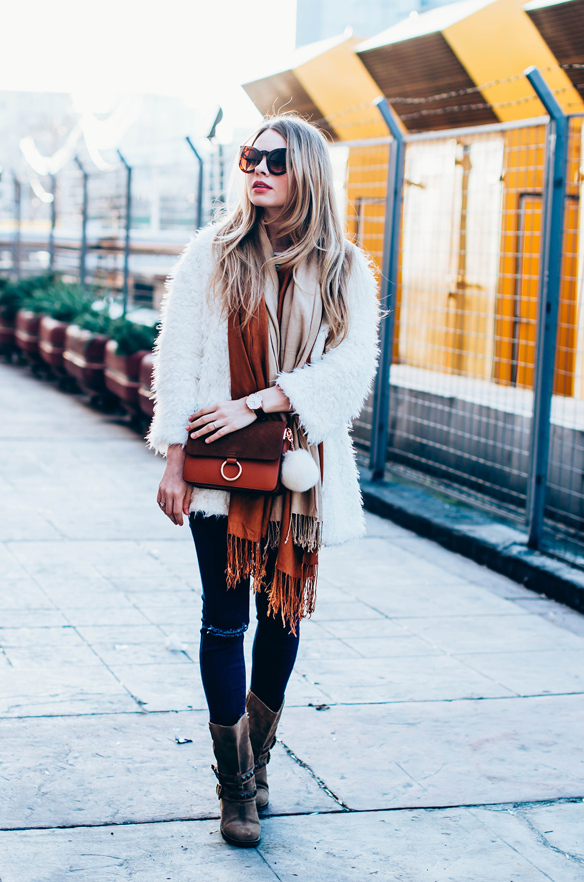 white-fluffy-cardgan-ripped-skinny-jeans-suede-boots-camel-scarf-fluffy-keyrng-cat-eye-sunglasses (6)