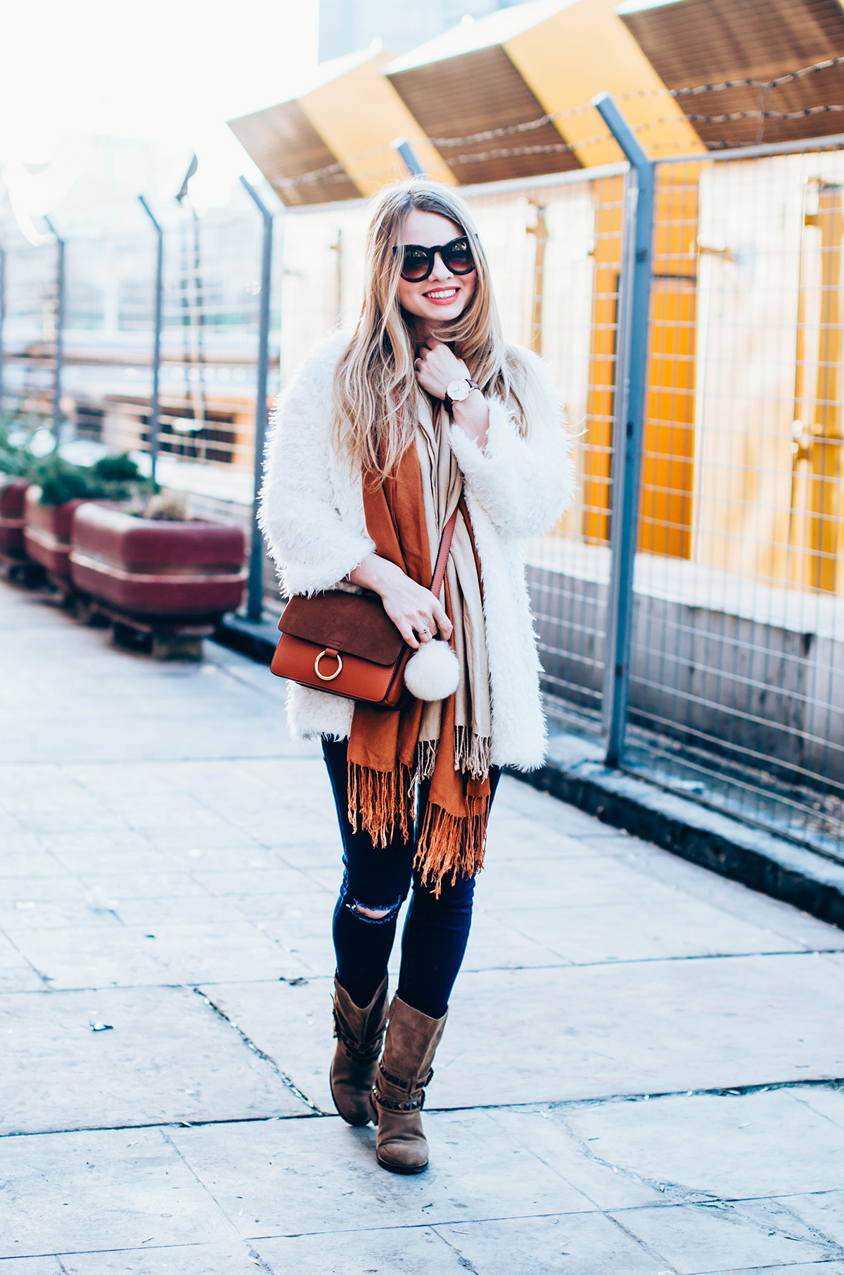 white-fluffy-cardgan-ripped-skinny-jeans-suede-boots-camel-scarf-fluffy-keyrng-cat-eye-sunglasses (7)