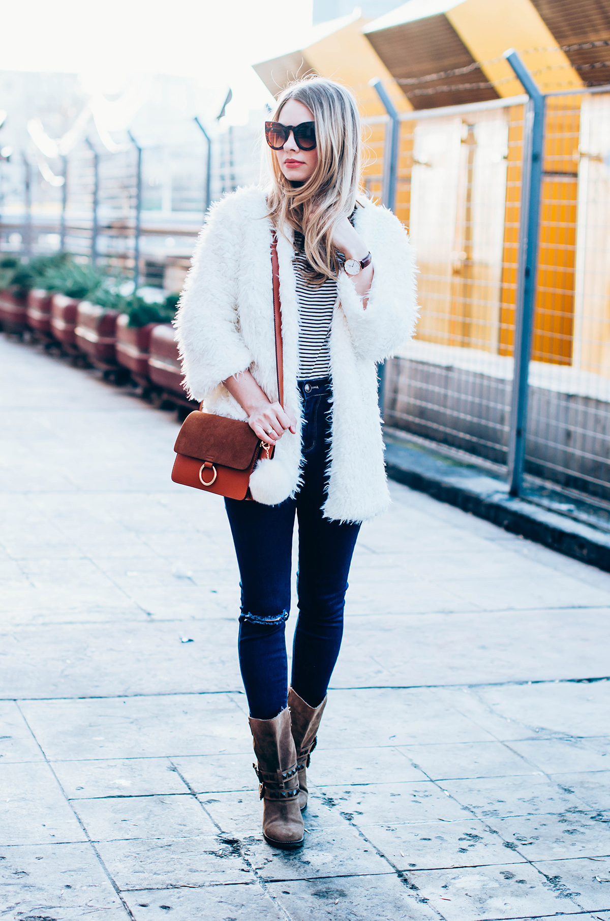 white-fluffy-cardgan-ripped-skinny-jeans-suede-boots-camel-scarf-fluffy-keyrng-cat-eye-sunglasses (8)