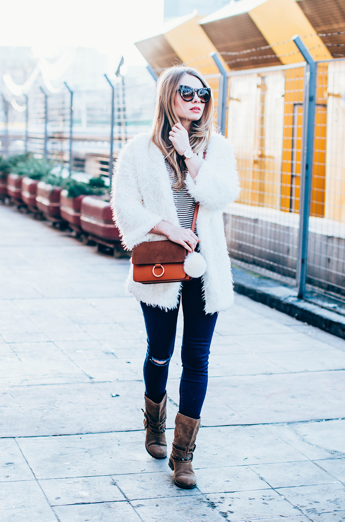 white-fluffy-cardgan-ripped-skinny-jeans-suede-boots-camel-scarf-fluffy-keyrng-cat-eye-sunglasses (9)