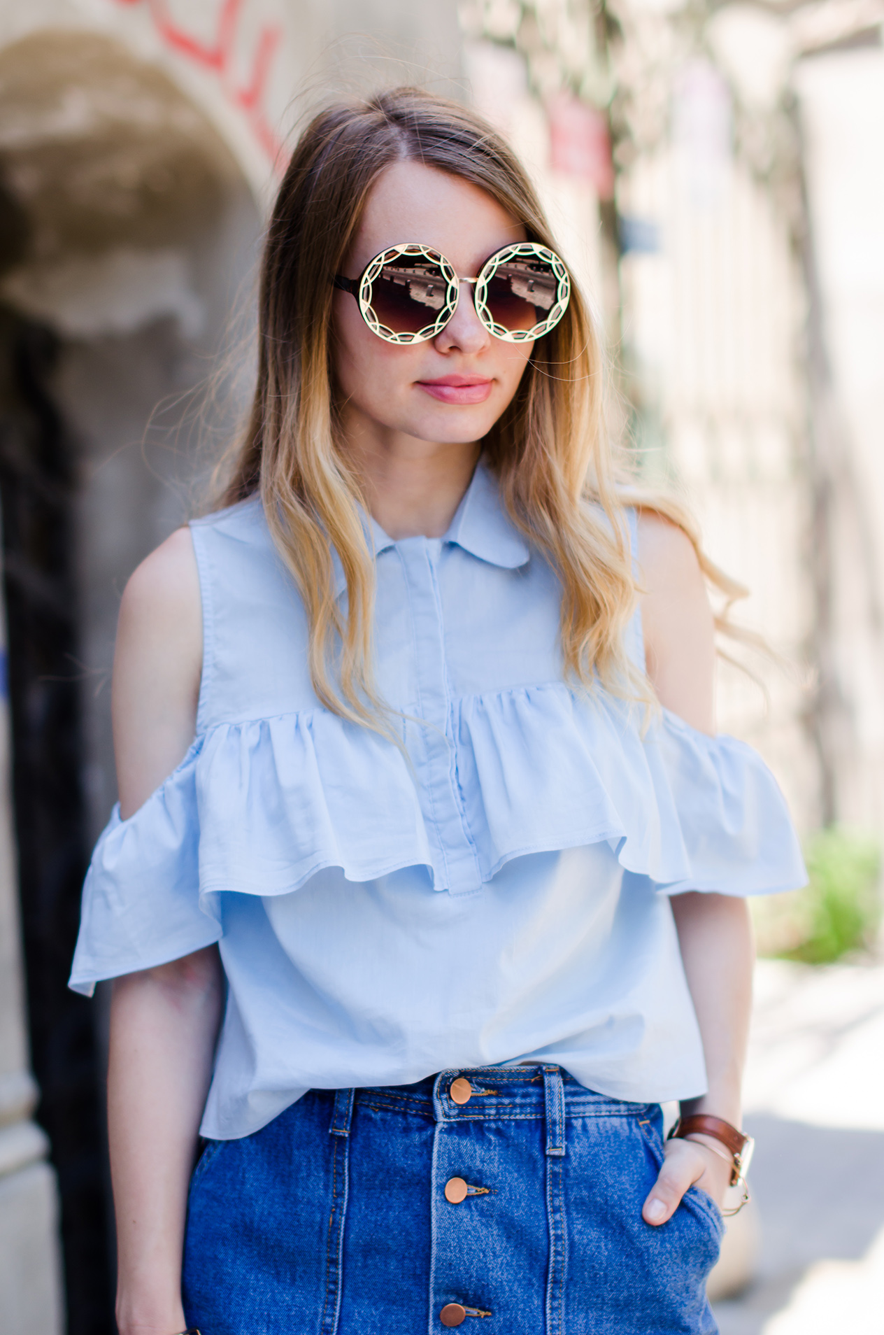 denim-skirt-blue-ruffle-blouse-suede-sandals-daniel-wellington-watch (7)