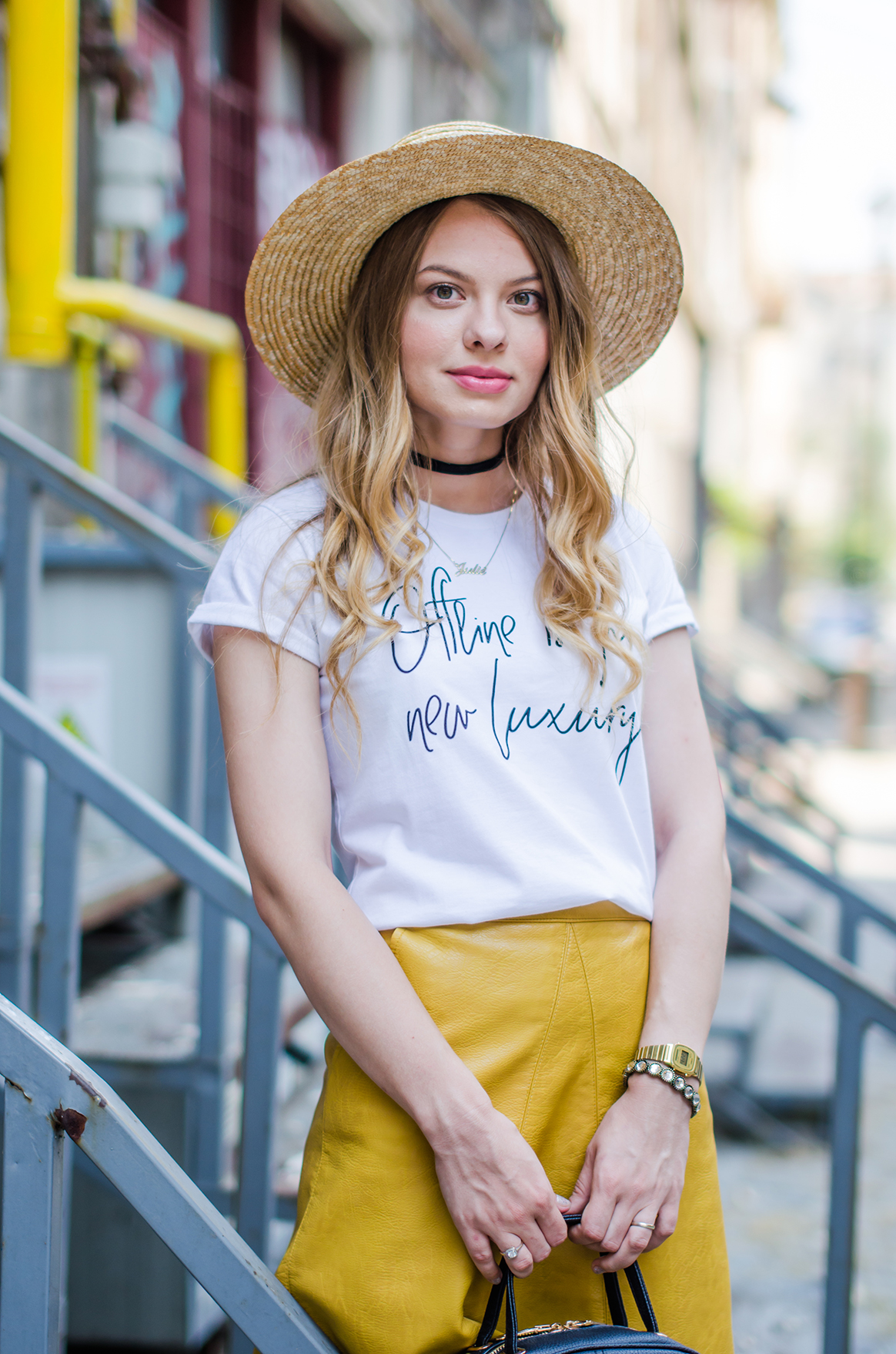 mustard-leather-skirt-straw-hat-choker (1)
