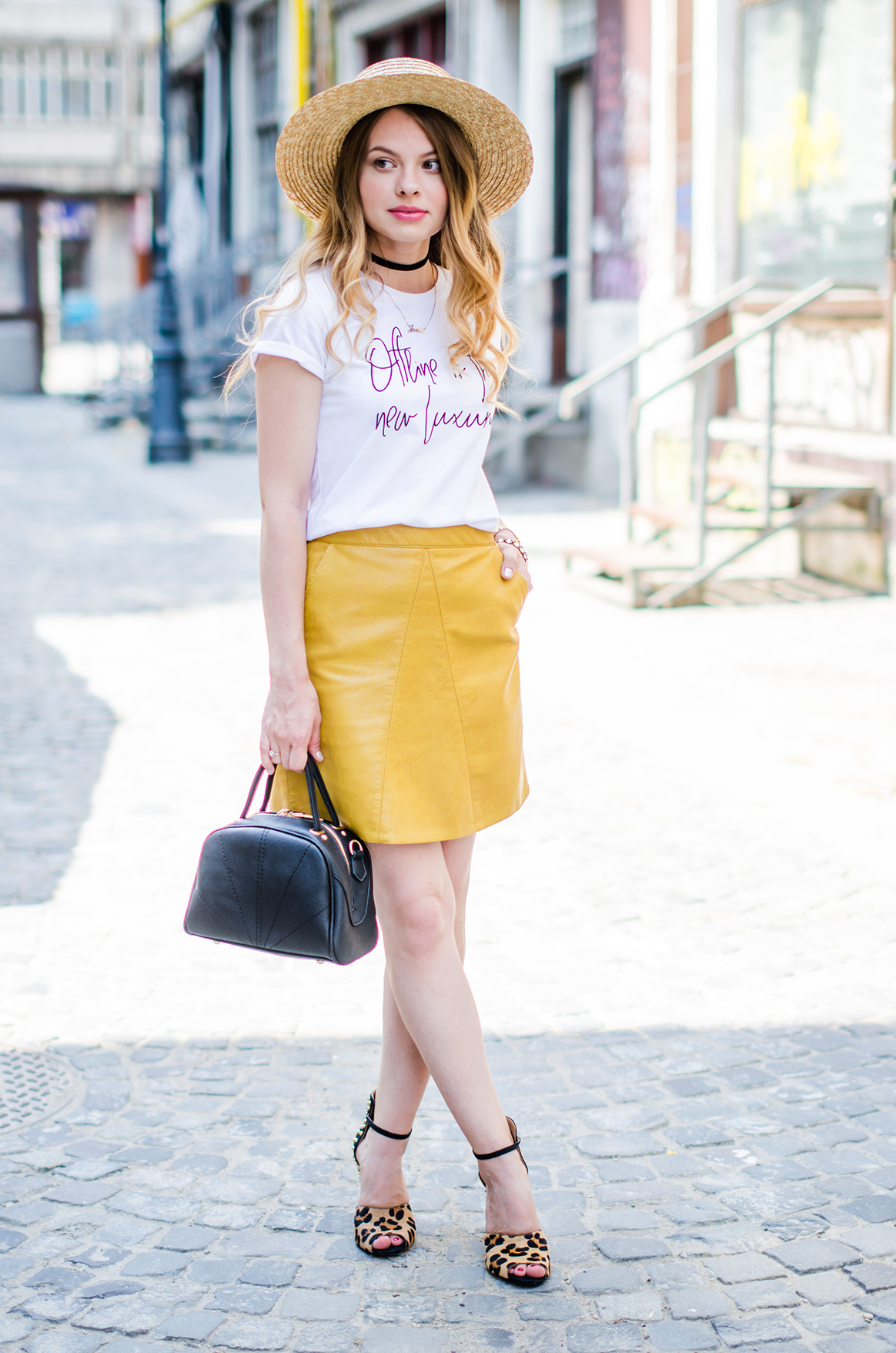 mustard-leather-skirt-straw-hat-choker (4)