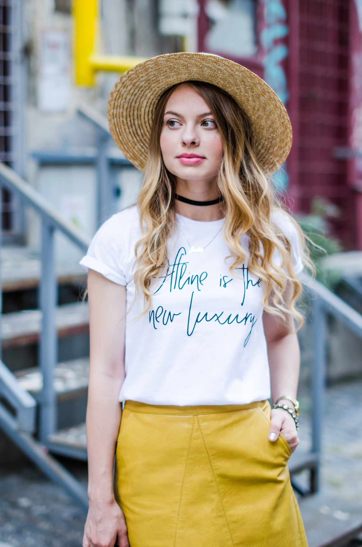 mustard-leather-skirt-straw-hat-choker (7)