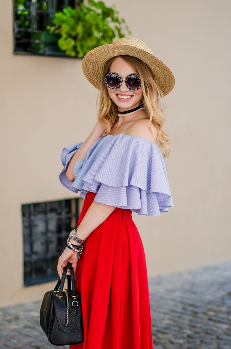 off-shoulder-blouse-red-midi-skirt-straw-hat (1)