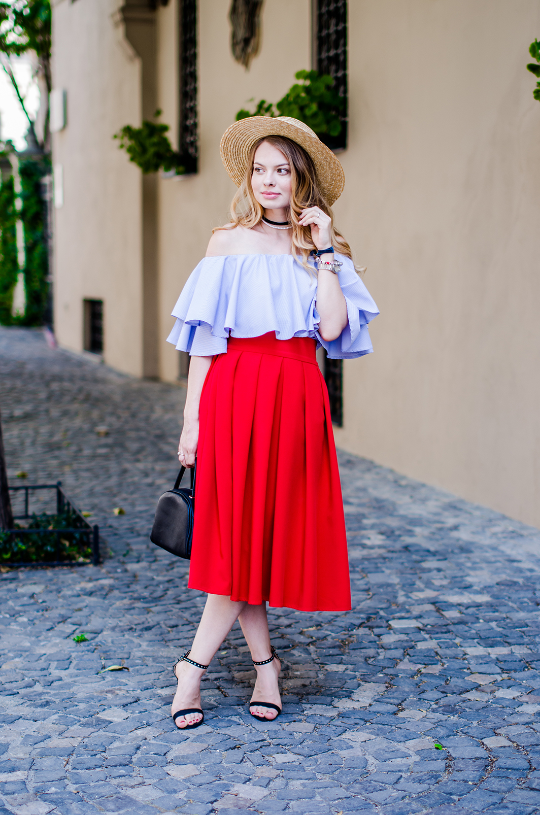 off-shoulder-blouse-red-midi-skirt-straw-hat (10)