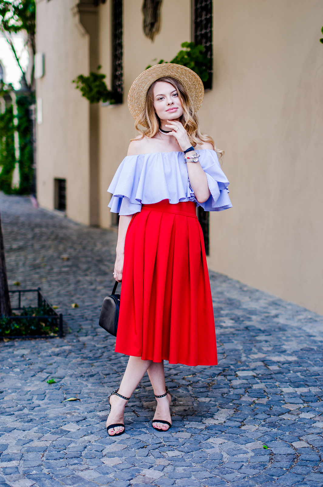 off-shoulder-blouse-red-midi-skirt-straw-hat (11)