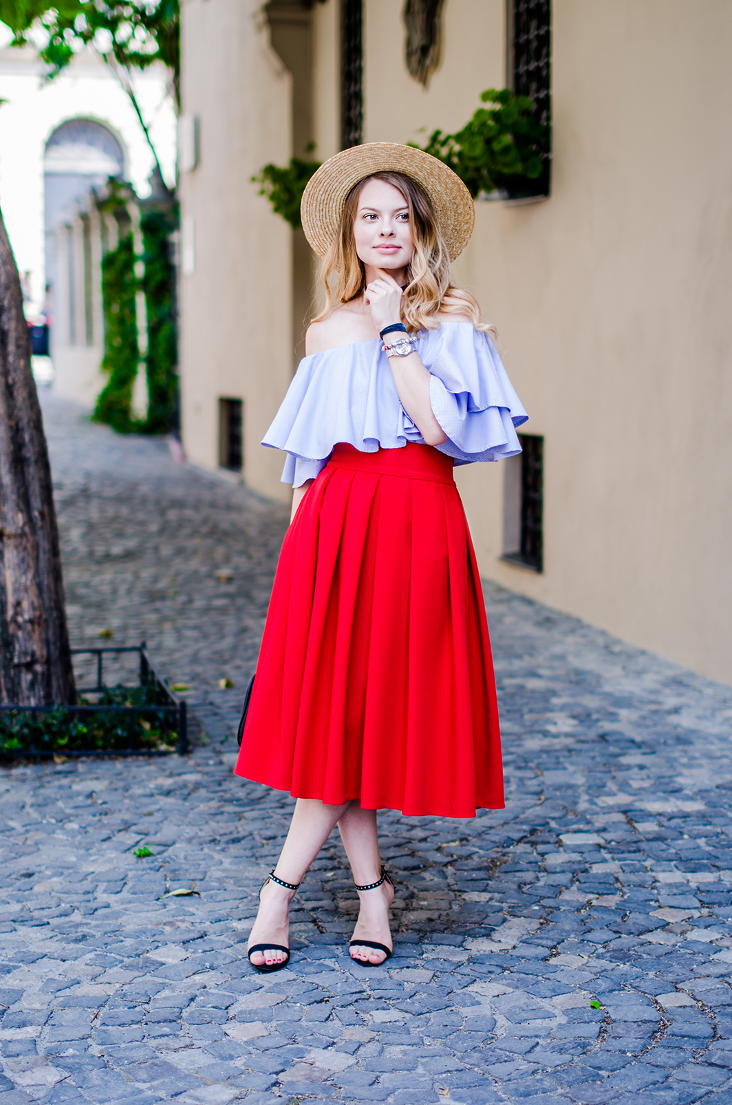 off-shoulder-blouse-red-midi-skirt-straw-hat (12)