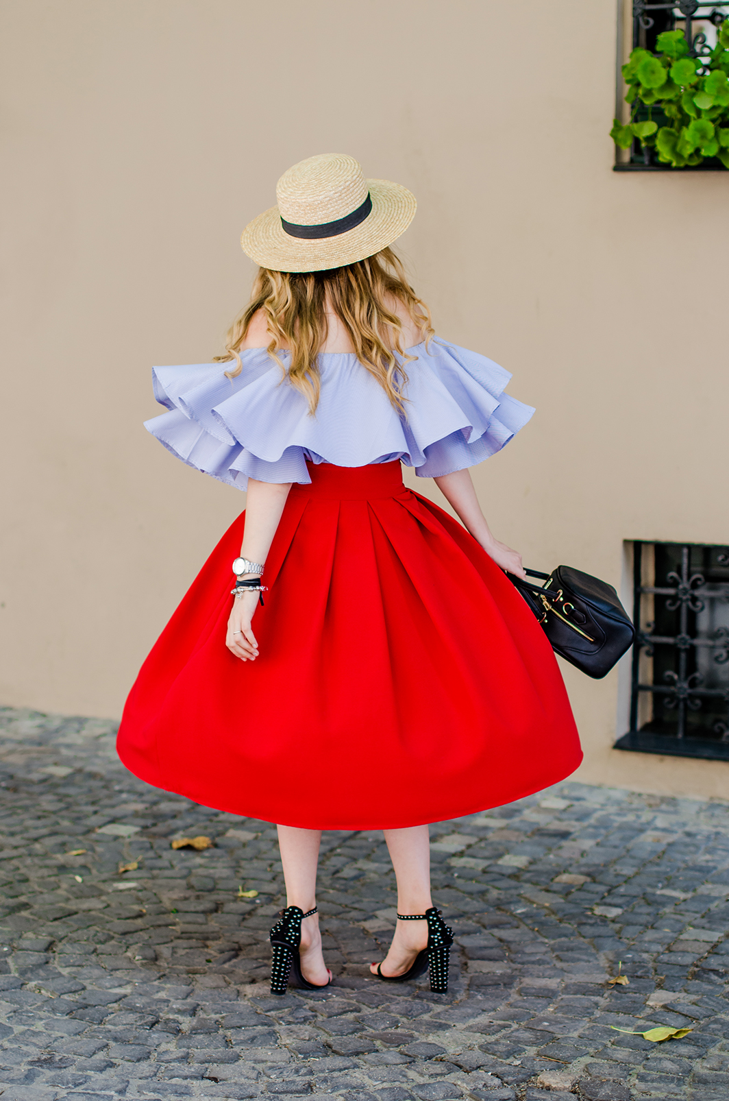 off-shoulder-blouse-red-midi-skirt-straw-hat (13)