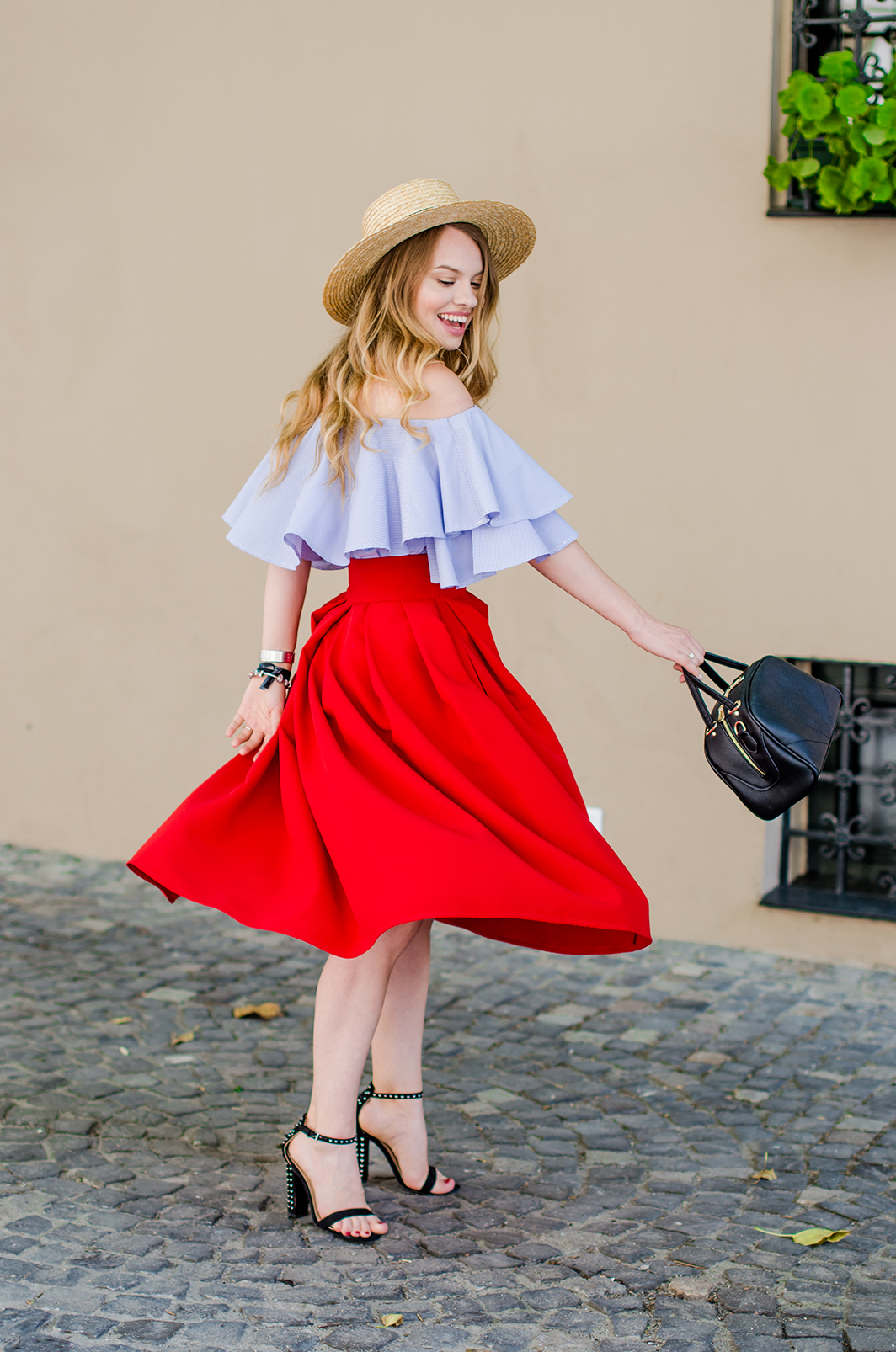off-shoulder-blouse-red-midi-skirt-straw-hat (14)