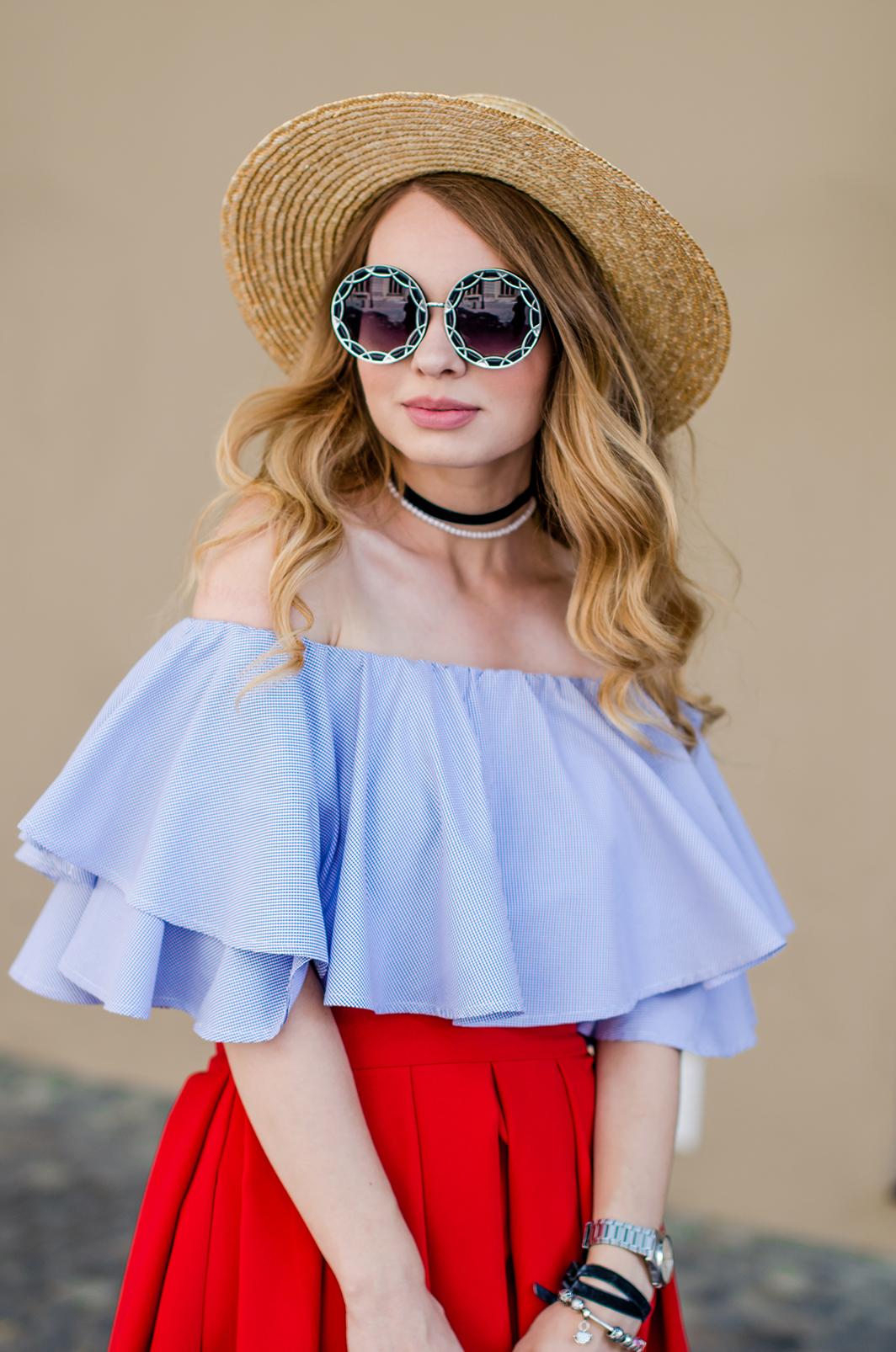 off-shoulder-blouse-red-midi-skirt-straw-hat (15)