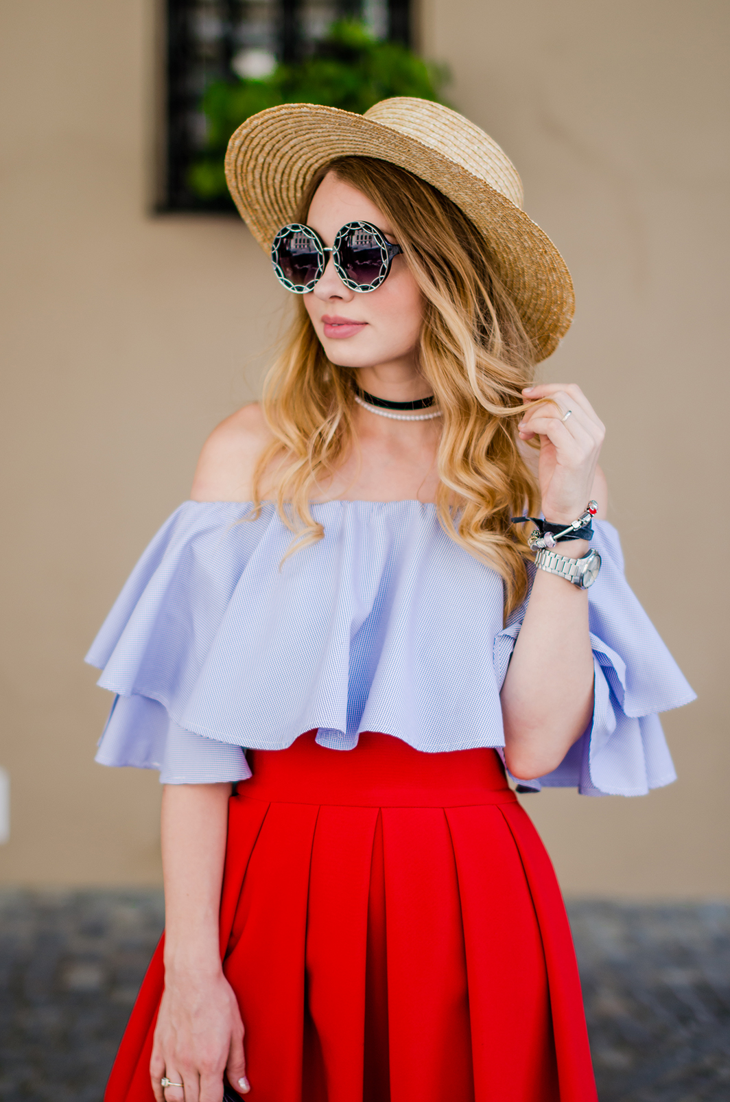 off-shoulder-blouse-red-midi-skirt-straw-hat (16)