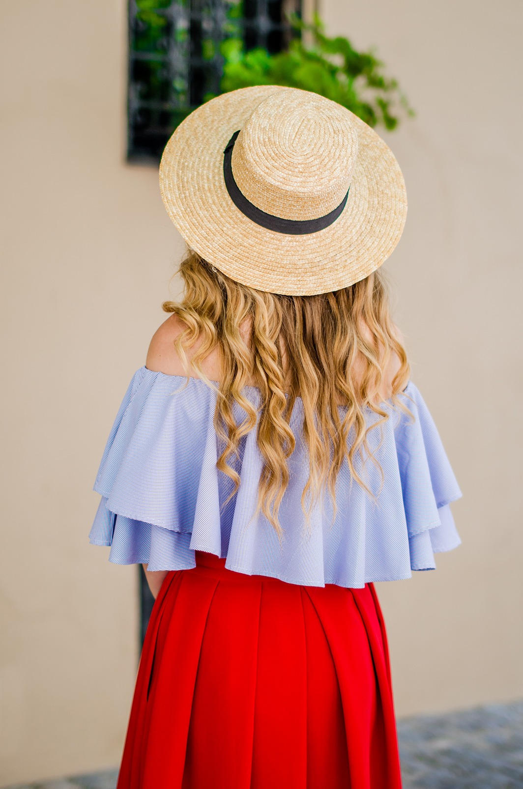 off-shoulder-blouse-red-midi-skirt-straw-hat (17)