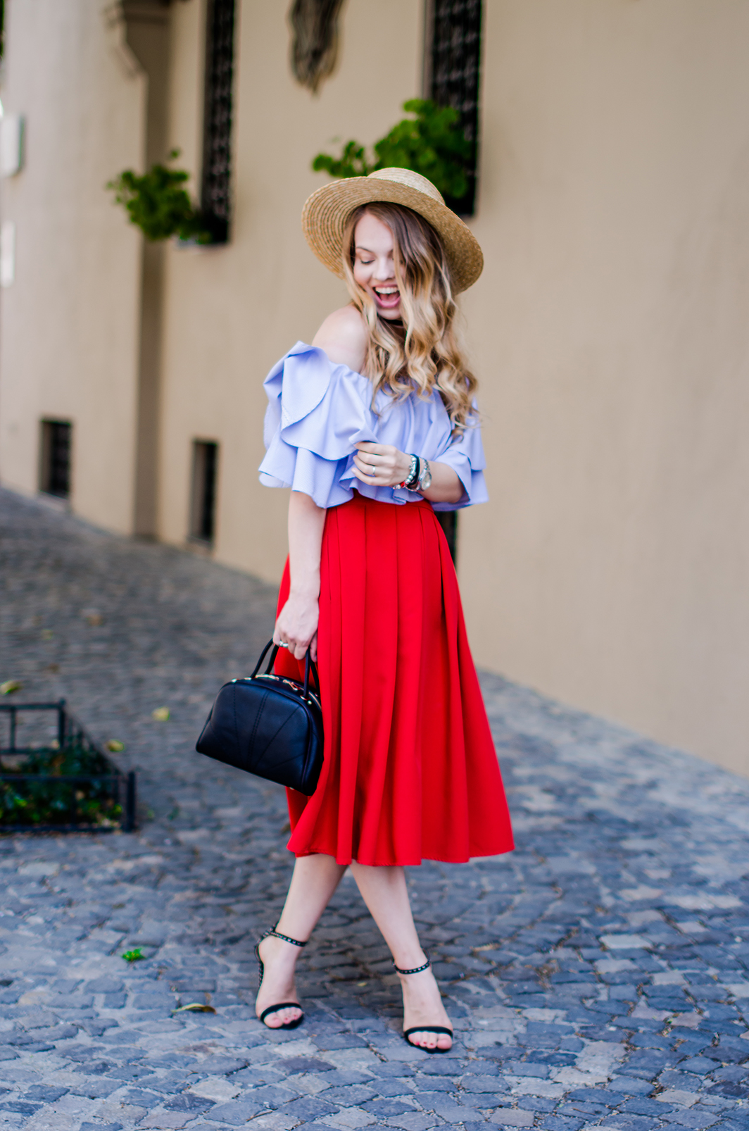 off-shoulder-blouse-red-midi-skirt-straw-hat (5)