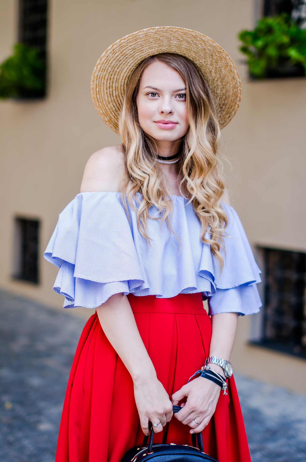 off-shoulder-blouse-red-midi-skirt-straw-hat (6)