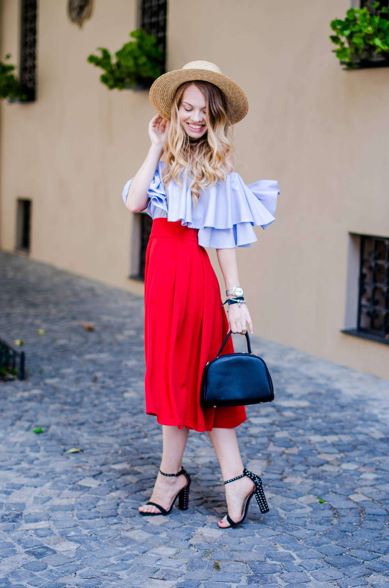 off-shoulder-blouse-red-midi-skirt-straw-hat (7)